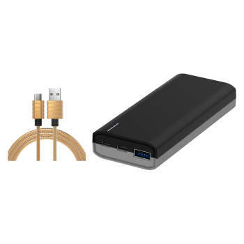 شارژر همراه آی واک مدل CHIC 10000PD UBC1002 ظرفیت ۱۰۰۰۰ میلی آمپر ساعت به همراه کابل تبدیل USB به USB-C آی واک مدل CST016C طول ۱ متر
