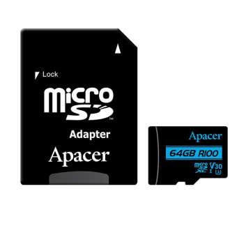 کارت حافظه microSDXC اپیسر مدل V30 کلاس ۱۰ استاندارد  UHS-I U3  سرعت ۱۰۰MBps ظرفیت۶۴گیگابایت به همراه آداپتور SD